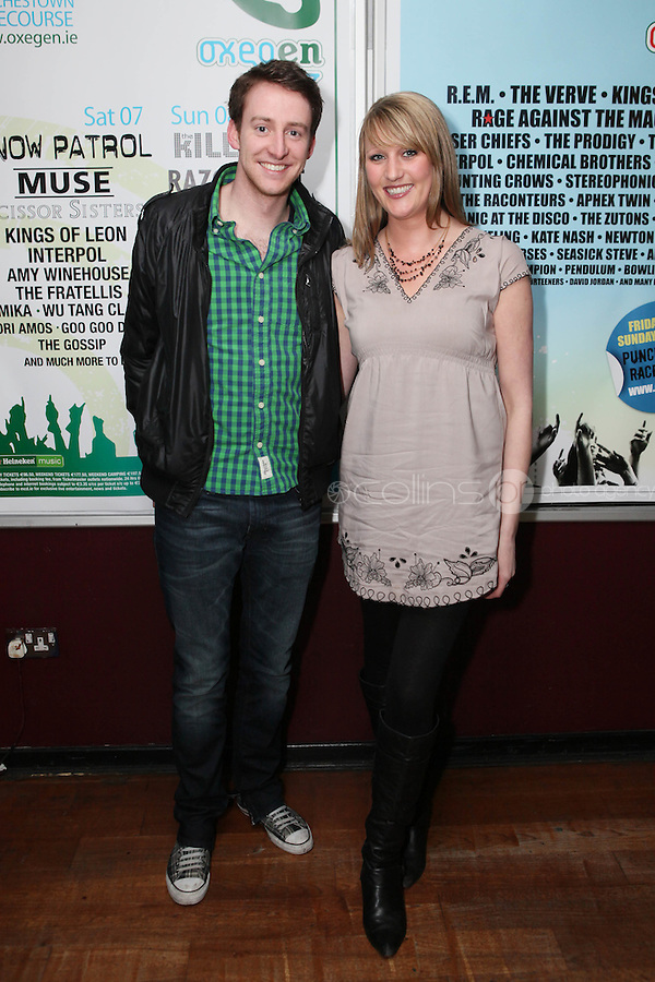 NO REPRO FEE. OXYGEN 2011 LAUNCH. Pictured at the Academy, Dublin for the launch of Oxygen 2011 are David O Keefe and Lisa Kelly. The three day music festival which takes place July 8th, 9th, 10th at Punchestown Racecourse, Naas, Co Kildare. Picture James Horan/Collins Photos