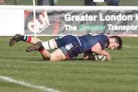 Jamie Stevenson of London Scottish scores his team's first try of the game during the Greene King IPA Championship match between London Scottish Football Club and Jersey at Richmond Athletic Ground, Richmond, United Kingdom on 18 February 2017. Photo by David Horn / PRiME Media Images.