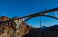 Boulder Dam new Bridge Nevada and Arizona viewing area energy and Lake Mead monument landmark