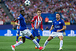 Wilfred Ndidi of Leicester City Football Club competes for the ball with Antoine Griezmann of Atletico de Madrid  during the match of  Champions LEague between  Atletico de Madrid and LEicester City Football Club at Vicente Calderon  Stadium  in Madrid, Spain. April 12, 2017. (ALTERPHOTOS / Rodrigo Jimenez)