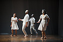 London, UK. 10.04.2013. Fabulous Beast Dance Theatre presents PETRUSHKA at Sadler's Wells. Picture shows: l to r - Anna Kaszuba, Keir Patrick, Emmanuel Obeya and Rachel Poirier. Photograph © Jane Hobson.