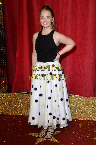 LONDON, ENGLAND - MAY 28: Isobel Steele attends the British Soap Awards 2016 at Hackney Town Hall on May 28, 2016 in London, England.<br /> CAP/BEL<br /> &copy;BEL/Capital Pictures