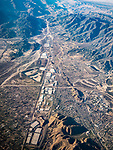San Bernardino, I-15, toward Cajon Pass, California, from a window seat on a United Airlines flight from Chicago to Los Angeles over America's Flyover County.