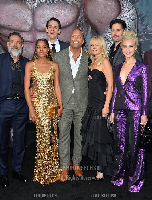 Jeffrey Dean Morgan,  Naomie Harris, Jason Liles, Dwayne Johnson, Malin Akerman, Joe Manganiello &amp; Breanne Hill at the premiere for &quot;Rampage&quot; at the Microsoft Theatre, Los Angeles, USA 04 April 2018<br /> Picture: Paul Smith/Featureflash/SilverHub 0208 004 5359 sales@silverhubmedia.com