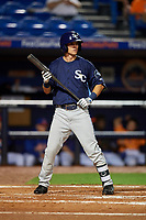Charlotte Stone Crabs left fielder Justin Bridgman (24) at bat during the second game of a doubleheader against the St. Lucie Mets on April 24, 2018 at First Data Field in Port St. Lucie, Florida.  St. Lucie defeated Charlotte 5-3.  (Mike Janes/Four Seam Images)