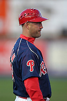Reading Phillies manager Dusty Wathan during a game against the Portland Seadogs at FirstEnergy Stadium on April 7, 2012 in Reading, Pennsylvania.  Reading defeated Portland 4-1.  (Mike Janes/Four Seam Images)
