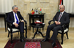 Palestinian Prime Minister Rami Hamdallah, meets with deputy Prime Minister and Minister of Foreign Affairs of Belgium Didier Reynders, in the West bank city of Ramallah, on May 8, 2016. Photo by Prime Minister Office