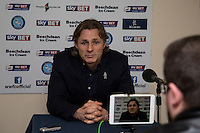 Wycombe Wanderers Manager Gareth Ainsworth gives his post match interview during the Sky Bet League 2 match between Wycombe Wanderers and Crawley Town at Adams Park, High Wycombe, England on 28 December 2015. Photo by Andy Rowland / PRiME Media Images