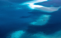 Aerial pattern over the reefs in Palau, Micronesia, aerial view