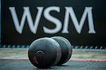 HAINAN ISLAND, CHINA - AUGUST 24:  Weights pictured in front of WSM logo before the Circus Medley event during the World's Strongest Man competition at Yalong Bay Cultural Square on August 24, 2013 in Hainan Island, China.  Photo by Victor Fraile