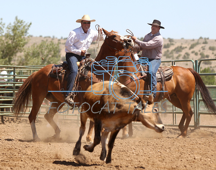 Nick Uhart and Joel Kruger, with the Hone NIX team, compete in the branding event at the Minden Ranch Rodeo on Sunday, July 24, 2011, in Gardnerville, Nev. .Photo by Cathleen Allison