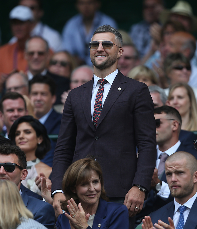 Boxer Carl Froch is introduced to the Centre Court crowd<br /> <br /> Photographer Rob Newell/CameraSport<br /> <br /> Wimbledon Lawn Tennis Championships - Day 6 - Saturday 6th July 2019 -  All England Lawn Tennis and Croquet Club - Wimbledon - London - England<br /> <br /> World Copyright © 2019 CameraSport. All rights reserved. 43 Linden Ave. Countesthorpe. Leicester. England. LE8 5PG - Tel: +44 (0) 116 277 4147 - admin@camerasport.com - www.camerasport.com