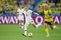 LE HAVRE, FRANCE - JUNE 20: Rose Lavelle #16, Caroline Seger #17 during a 2019 FIFA Women's World Cup France group F match between the United States and Sweden at Stade Océane on June 20, 2019 in Le Havre, France.