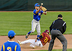 MIDDLETOWN, CT. 06 June 2018-060618BS515 - Seymour's John Chacho (7) gets the force out at second while avoiding St Joseph's Connor Murphy (21) and trying to turn a double play during the CIAC Tournament Class M Semi-Final baseball game between Seymour and St Joseph at Palmer Field on Wednesday evening. Seymour beat St Joseph 8-0 and will play Wolcott for the Class M championship on Saturday. Bill Shettle Republican-American
