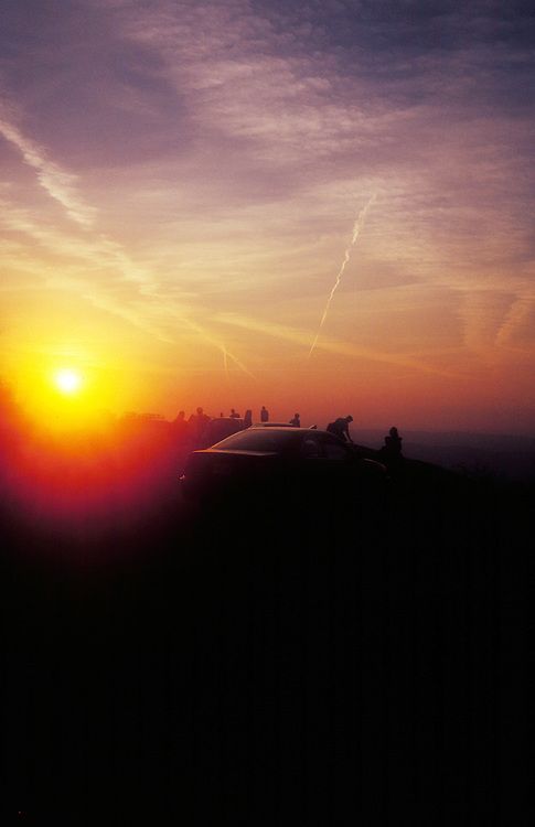 Tourist stop for the sunset along the Skyline Drive in the Shenandoah National Park, Virginia.