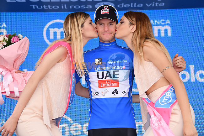 Jan Polanc (SLO) UAE Team Emitates retains the mountains  Maglia Azzura at the end of Stage 7 of the 100th edition of the Giro d'Italia 2017, running 224km from Castrovillari to Alberobello, Italy. 12th May 2017.<br /> Picture: LaPresse/Gian Mattia D'Alberto | Cyclefile<br /> <br /> <br /> All photos usage must carry mandatory copyright credit (&copy; Cyclefile | LaPresse/Gian Mattia D'Alberto)