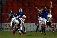 Angela Addison of Tottenham Hotspur women  goes close from a corner during Tottenham Hotspur Women vs Everton Women, Barclays FA Women's Super League Football at the Hive Stadium on 12th February 2020