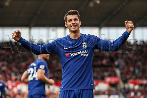 23rd September 2017, bet365 Stadium, Stoke-on-Trent, England; EPL Premier League football, Stoke City versus Chelsea; Álvaro Morata of Chelsea celebrates with the fans for scoring his second goal to make the score 3-0 to Chelsea in the 78th minute