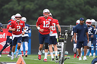 July 26, 2018: New England Patriots quarterback Tom Brady (12) warms up before practice at the New England Patriots training camp held on the practice fields at Gillette Stadium, in Foxborough, Massachusetts. Eric Canha/CSM