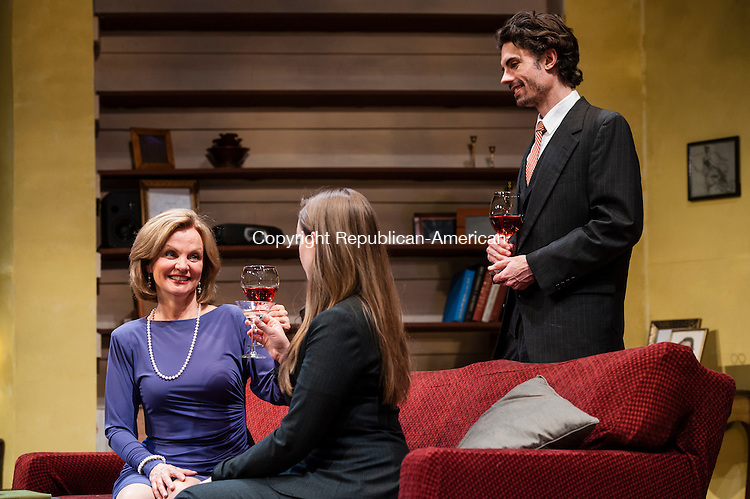"WATERBURY, CT-25 March 2014-032514EC02-    Audrey Heffernan Meyer who plays ""Kay,"" toasts with Jenny Ashman, who plays her daughter, ""Penny.""  Actor Stephen Sherman looks on. Opening night for Romance Language is 8pm Saturday at Seven Angels Theatre in Waterbury. Erin Covey Republican-American"