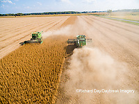 63801-09006 Soybean Harvest, 2 John Deere combines harvesting soybeans - aerial - Marion Co. IL