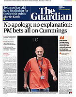 The Guardian newspaper Front page reporting on Prime Minister's TV Address to the Nation. May 25th 2020
