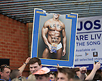 Leicester's fans hold up a poster of Gary Lineker in his pants during the Barclays Premier League match at the King Power Stadium.  Photo credit should read: David Klein/Sportimage