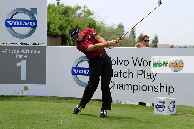 Retief Goosen (RSA) teeing off on the 1st tee during Day 1 of the Volvo World Match Play Championship in Finca Cortesin, Casares, Spain, 19th May 2011. (Photo Eoin Clarke/Golffile 2011)