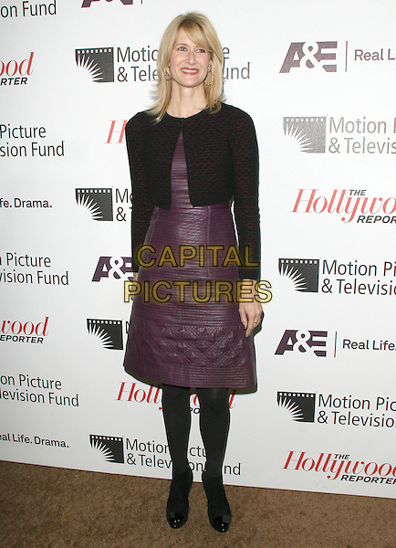 Laura Dern.'Reel Stories, Real Lives' Celebration of the Motion Picture & Television Fund' 90 Years of Service to the Community and Recognizes The Hollywood Reporter's Next Generation Class of 2011 held at Milk Studios in Los Angeles, California, USA..full length purple leather dress tights jacket cropped black red.CAP/RKE/DVS.©DVS/RockinExposures/Capital Pictures.