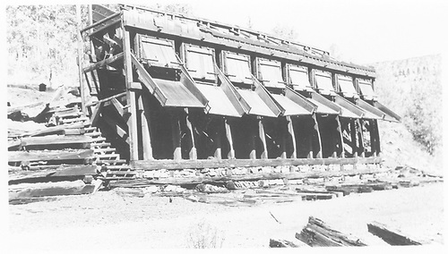 Detail of RGS Vance Junction coal chutes after abandonment.<br /> RGS  Vance Junction, CO  Taken by Maxwell, John W. - 8/20/1958
