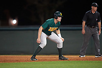 Siena Saints right fielder Fred Smart (32) leads off first base during a game against the Stetson Hatters on February 23, 2016 at Melching Field at Conrad Park in DeLand, Florida.  Stetson defeated Siena 5-3.  (Mike Janes/Four Seam Images)