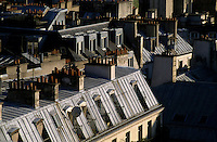 Rooftops of city buildings in the Châtelet-Les Halles district of Paris, France.