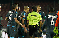 Napoli player protest to referee calvanese at the end of the Italian Serie A soccer match between   SSC Napoli and Atalanta  at San Paolo  Stadium in Naples ,March 22 , 2015<br /> <br /> <br /> incontro di calcio di Serie A   Napoli -Atalanta allo  Stadio San Paolo  di Napoli , 22  Marzo 2015
