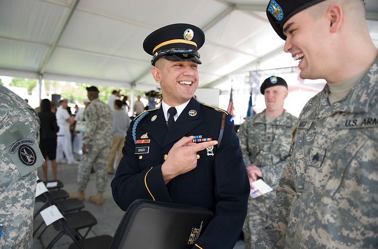 U.S. Army specialist Samdeep Singh is congratulated by his Army buddies after being sworn in as a U.S. Citizen on the National Mall on Monday, May 5, 2008. Samdeep is originally from India.