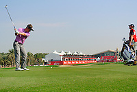 Luke Donald (ENG) plays his 2nd shot on the 9th hole during Thursday's Round 1 of the HSBC Golf Championship at the Abu Dhabi Golf Club, United Arab Emirates, 26th January 2012 (Photo Eoin Clarke/www.golffile.ie)