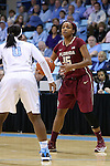 12 February 2015: Florida State's Maegan Conwright (15) and North Carolina's Jamie Cherry (0). The University of North Carolina Tar Heels hosted the Florida State University Seminoles at Carmichael Arena in Chapel Hill, North Carolina in a 2014-15 NCAA Division I Women's Basketball game. UNC won the game 71-63.