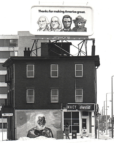 Thanks for Making America Great billboard above African American elder mural Boston MA South End Cabot Street 1977