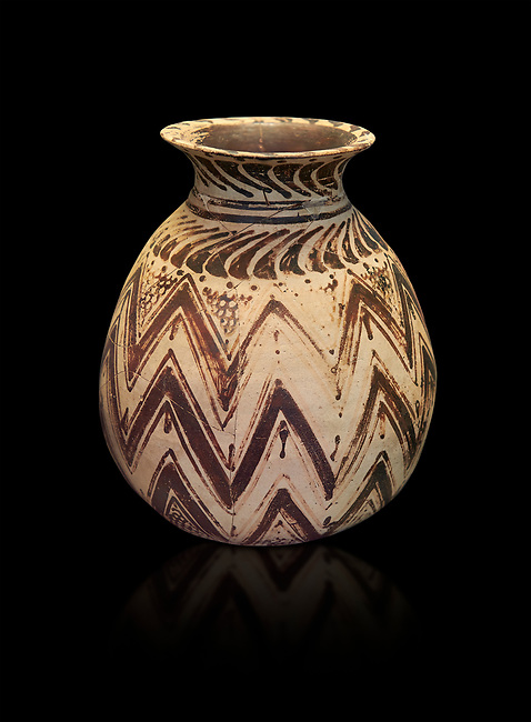 Mycenaean clay alabastron decorated with seaweed motifs, Tholos tomb 2 , Myrsinochori, Messenia, 15th cent BC. National Archaeological Museum Athens. Cat No 8374. Black Background