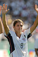 Mia Hamm waves goodbye as this will possibly be her last world cup; Women's World Cup 3rd/4th place match, USA vs Canada, Carson California
