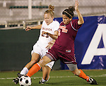 07 November 2008: Virginia's Nikki Krzysik (23) and Virginia Tech's Stephanie Hylton (3). The University of Virginia and Virginia Tech played to a 1-1 tie after 2 overtimes at WakeMed Stadium at WakeMed Soccer Park in Cary, NC in a women's ACC tournament semifinal game.  Virginia Tech advanced to the final on penalty kicks, 2-1.