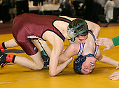 CJ Howard and Luke Popolizio wrestle at the 103 weight class during the NY State Wrestling Championships at Blue Cross Arena on March 8, 2008 in Rochester, New York.  (Copyright Mike Janes Photography)