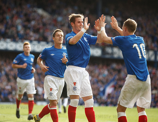 David Templeton celebrates with Dean Shiels after scoring his second goal of the match