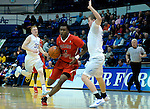 January 11, 2017:  Fresno State guard, Jaron Hopkins #1, drives the lane during the NCAA basketball game between the Fresno State Bulldogs and the Air Force Academy Falcons, Clune Arena, U.S. Air Force Academy, Colorado Springs, Colorado.  Air Force defeats Fresno State 81-72.