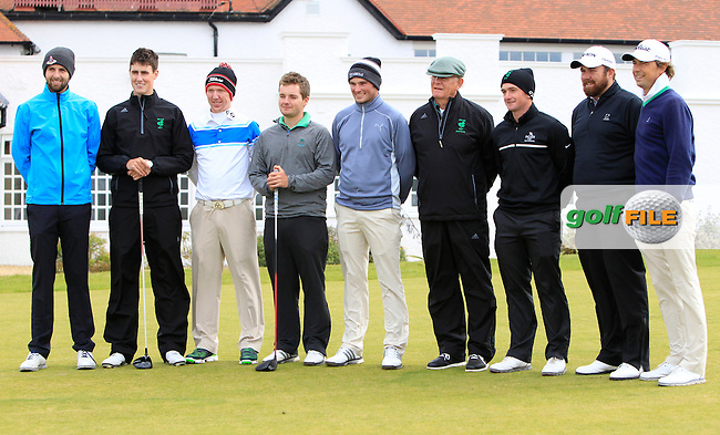 Ruaidhri McGee and Shane Lowry with the GUI National panel players who are taking part in the Walker cup next week practicing with Neil Manchip and Tony Goode at Portmarnock on Wednesday 2nd September 2015.<br /> Picture:  Thos Caffrey / www.golffile.ie