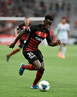 1st January 2020; Bankwest Stadium, Parramatta, New South Wales, Australia; Australian A League football, Western Sydney Wanderers versus Brisbane Roar; Mohamed Adam of Western Sydney Wanderers breaks forward on the ball - Editorial Use