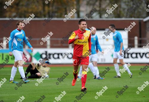 2013-11-24 / Voetbal / seizoen 2013-2014 / KFC Duffel - Wolvertem / Yens Peeters viert zijn 1-0 voor Duffel<br /><br />Foto: Mpics.be