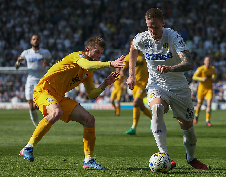 Leeds United's Pontus Jansson gets away from Preston North End's Tom Barkhuizen<br /> <br /> Photographer Alex Dodd/CameraSport<br /> <br /> The EFL Sky Bet Championship - Leeds United v Preston North End - Saturday 8th April 2017 - Elland Road - Leeds<br /> <br /> World Copyright &copy; 2017 CameraSport. All rights reserved. 43 Linden Ave. Countesthorpe. Leicester. England. LE8 5PG - Tel: +44 (0) 116 277 4147 - admin@camerasport.com - www.camerasport.com