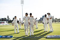 23rd November 2019; Mt Maunganui, New Zealand;  England players leave the field at the end of play on Day 3, 1st Test match between New Zealand versus England. International Cricket at Bay Oval, Mt Maunganui, New Zealand.  - Editorial Use