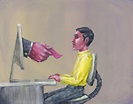 Illustration of man being given pink slip by business person