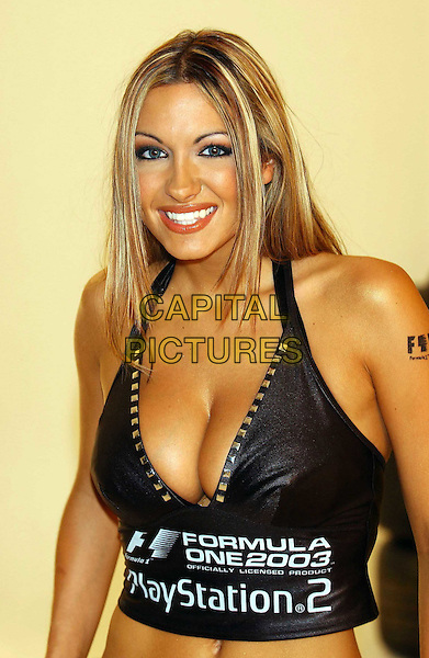 JODIE MARSH.hot new face for FORMULA ONE(tm)..The launch of Sony Computer Entertainment's latest racing game, FORMULA ONE 2003(tm) for the PlayStation®2.sales@capitalpictures.com.www.capitalpictures.com.©Capital Pictures.half length, half-length